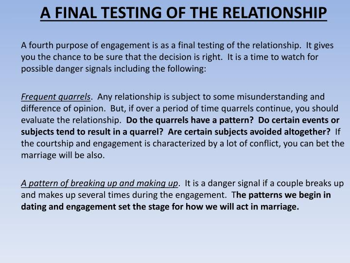 A FINAL TESTING OF THE RELATIONSHIP