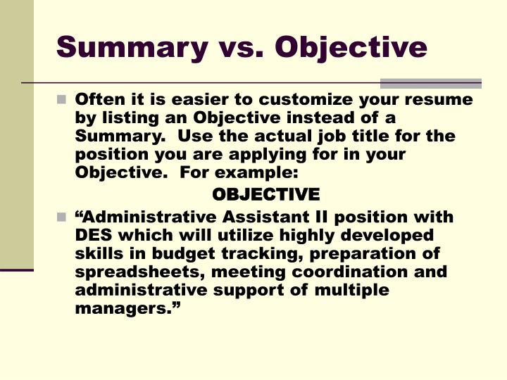 Summary vs. Objective