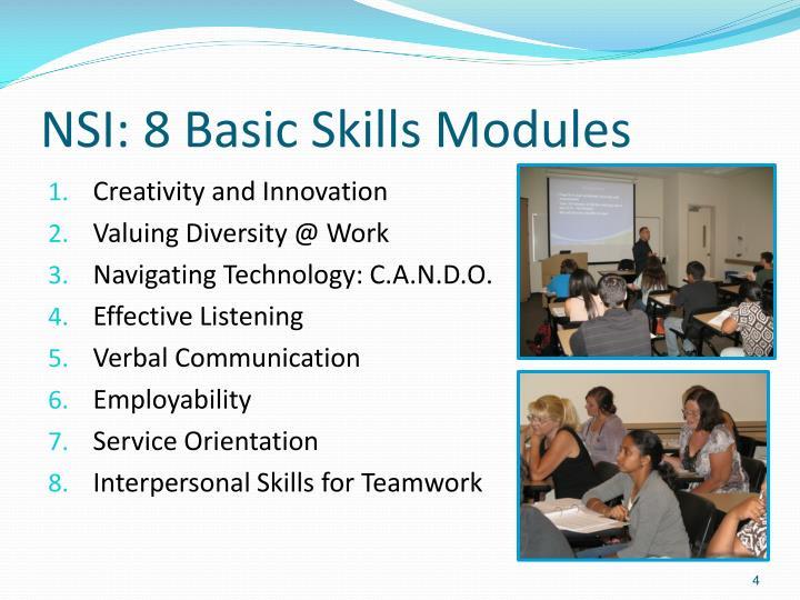 NSI: 8 Basic Skills Modules