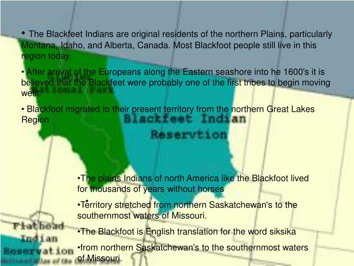 The Blackfeet Indians are original residents of the northern Plains, particularly Montana, Idaho, an...