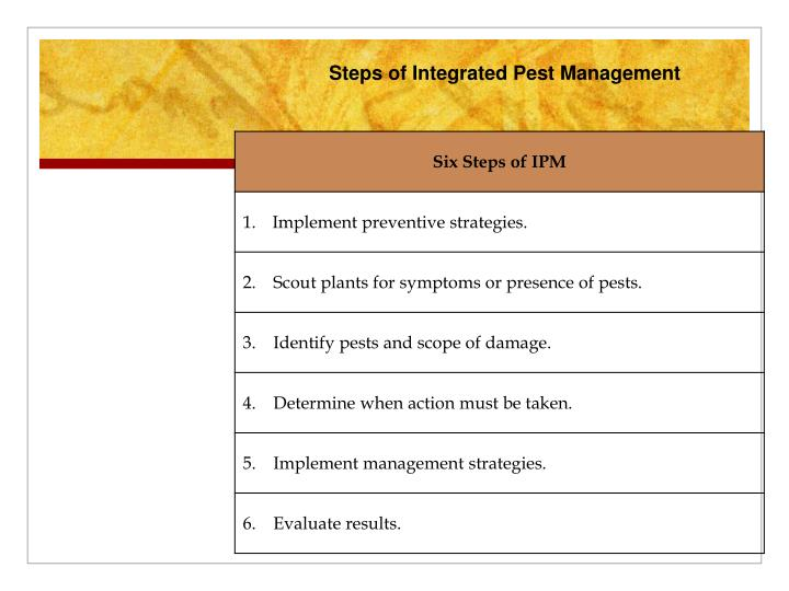 Steps of Integrated Pest Management