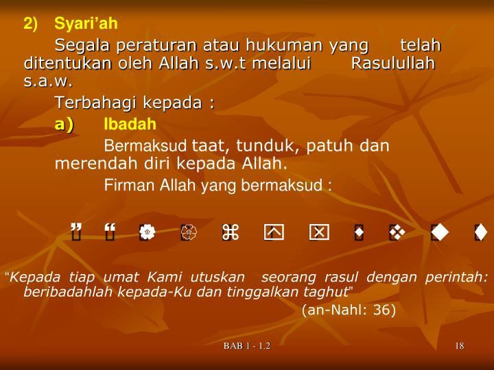 2)Syari'ah