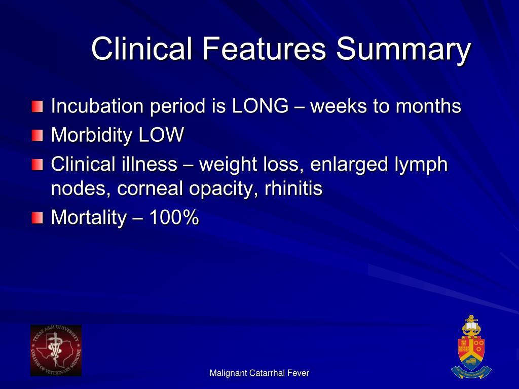 Clinical Features Summary