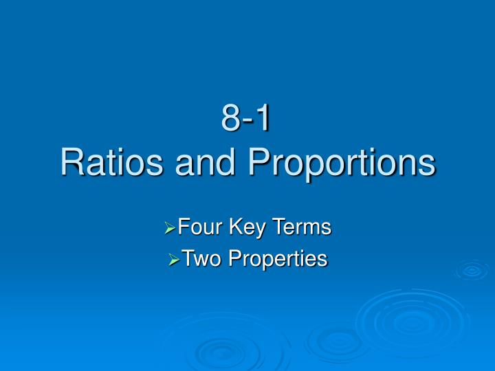 8 1 ratios and proportions