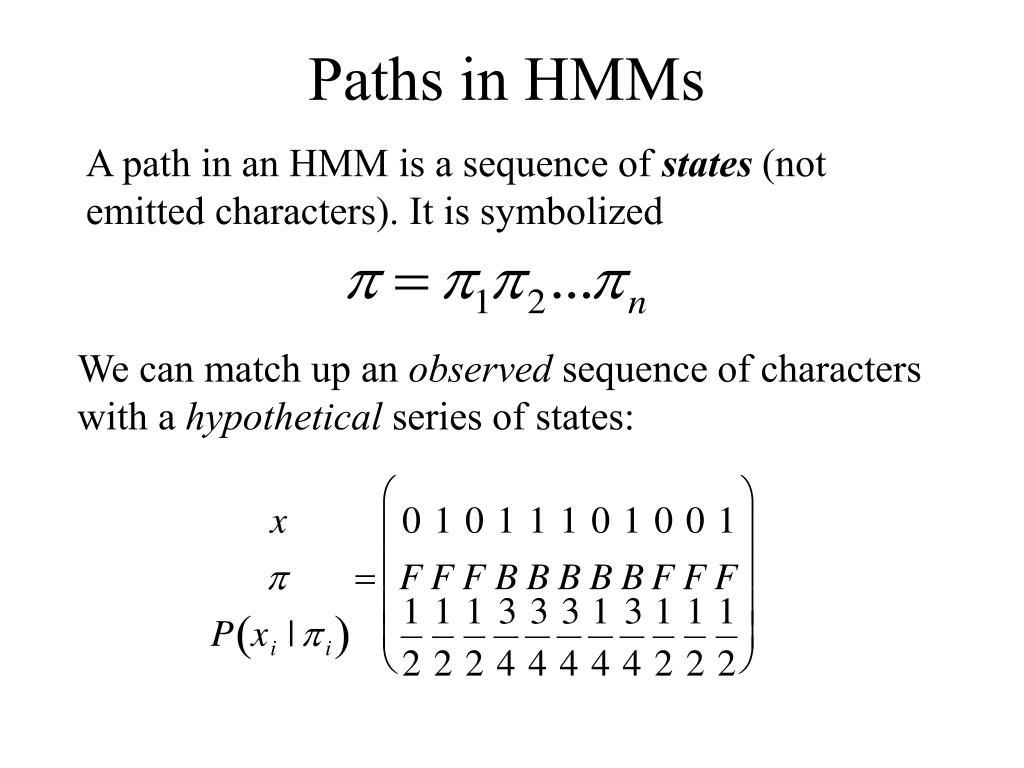 Paths in HMMs