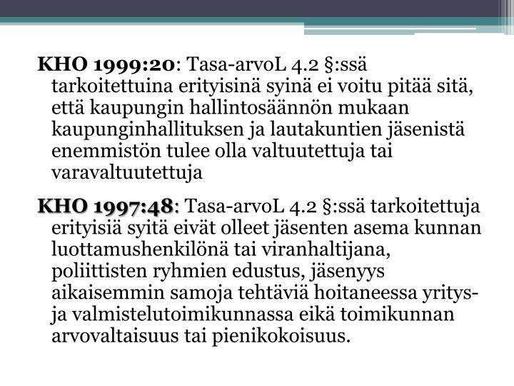 KHO 1999:20