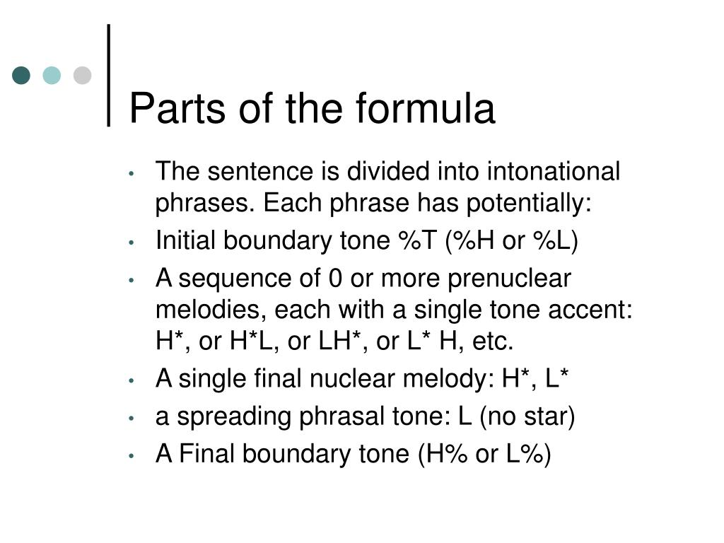 Parts of the formula