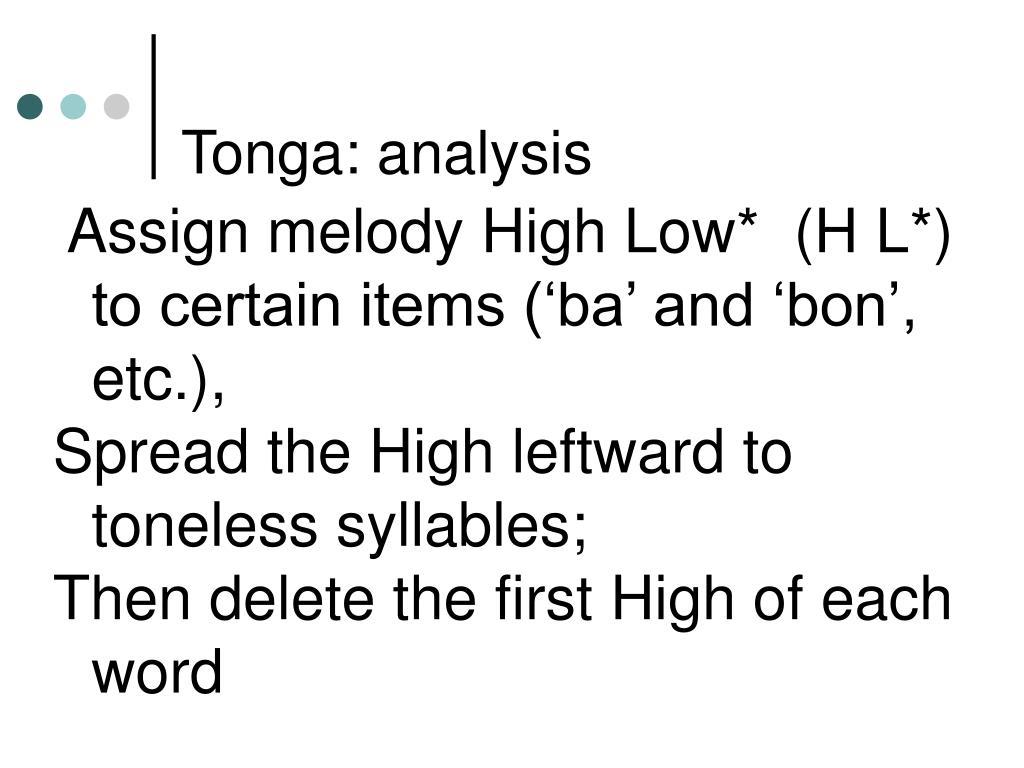 Tonga: analysis