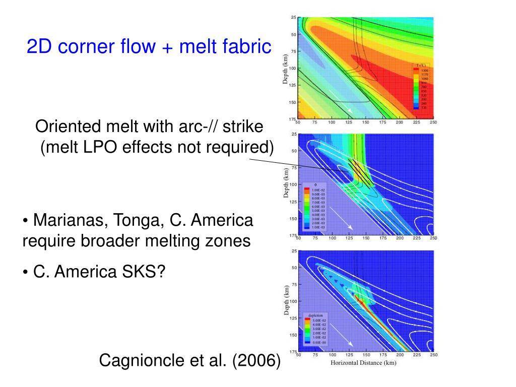 2D corner flow + melt fabric