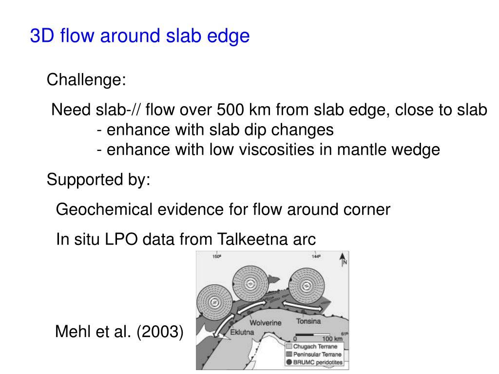 3D flow around slab edge