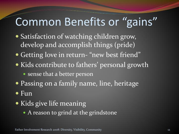"Common Benefits or ""gains"""