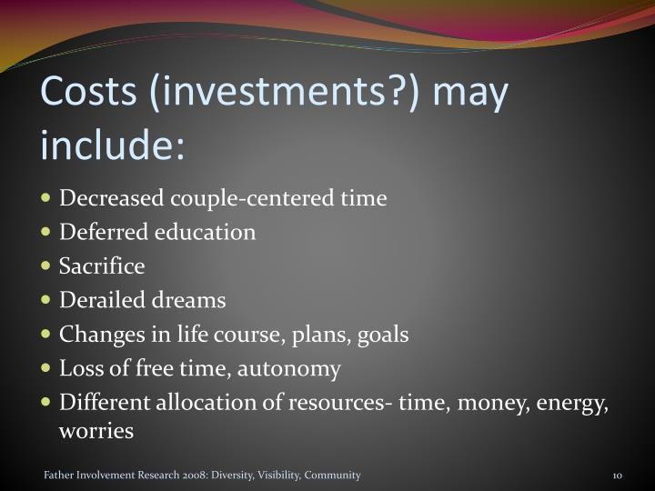 Costs (investments?) may include: