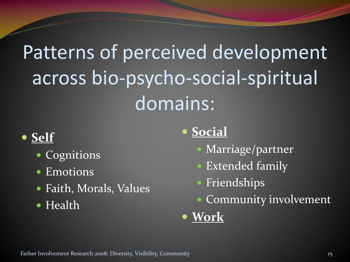 Patterns of perceived development across bio-psycho-social-spiritual domains: