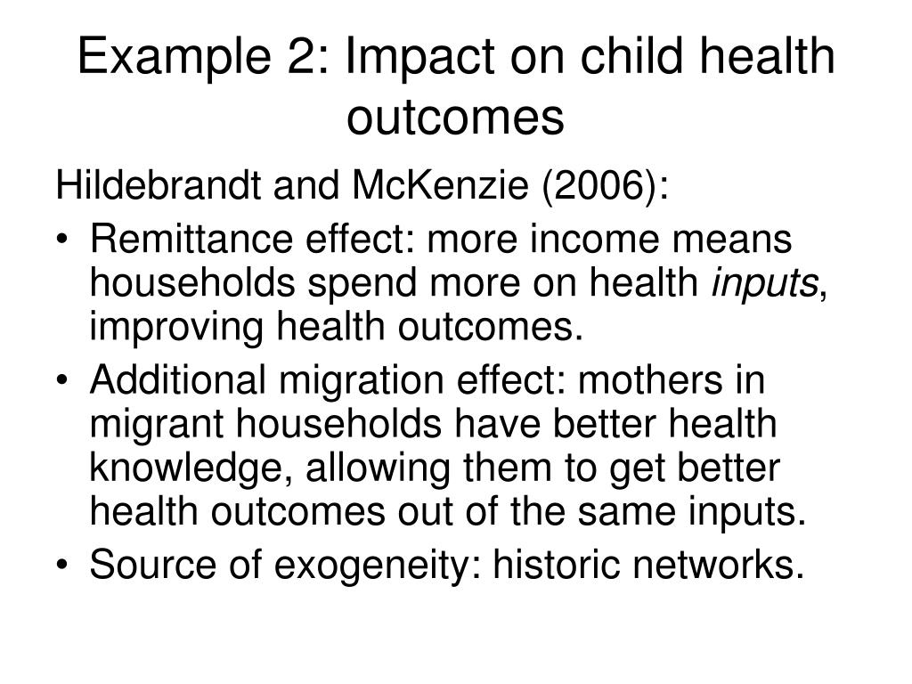 Example 2: Impact on child health outcomes