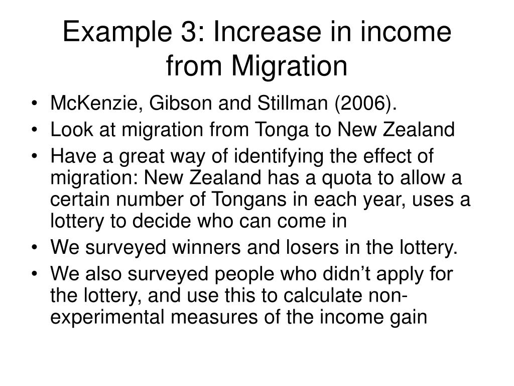 Example 3: Increase in income from Migration