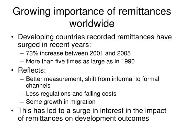 Growing importance of remittances worldwide