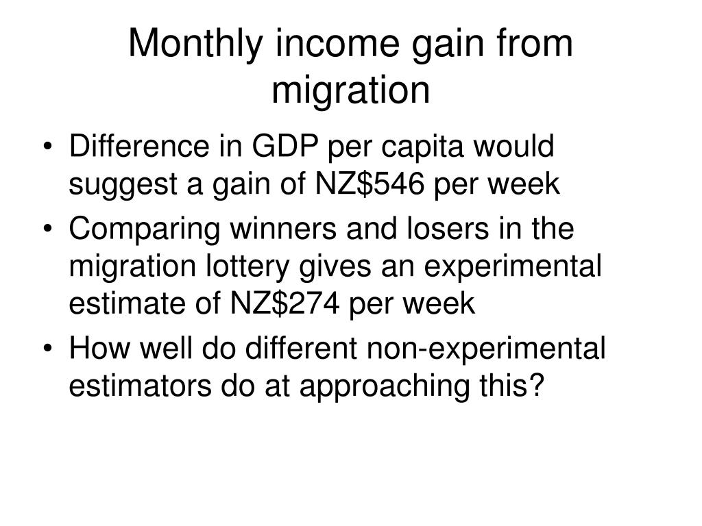 Monthly income gain from migration