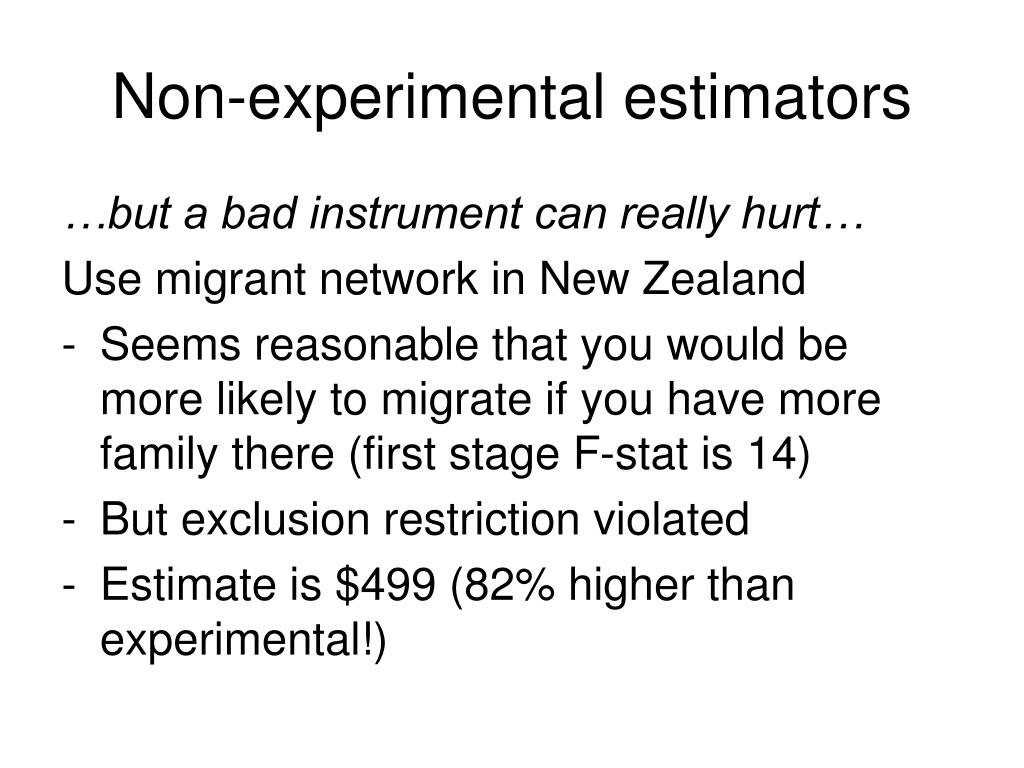 Non-experimental estimators