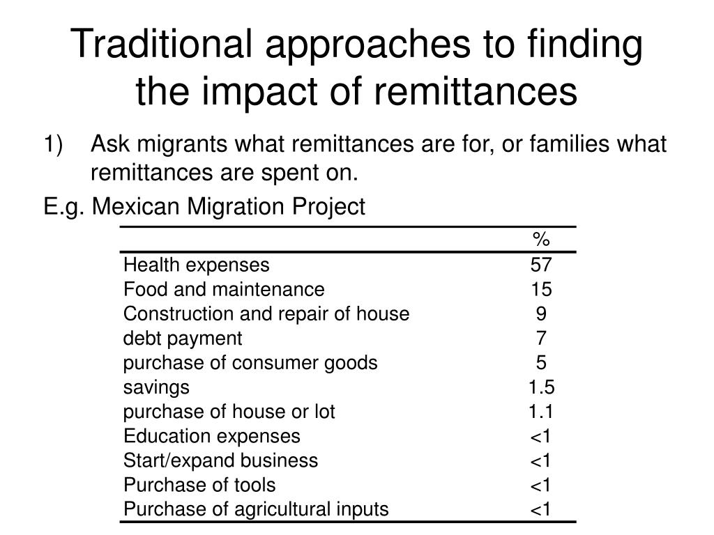 Traditional approaches to finding the impact of remittances