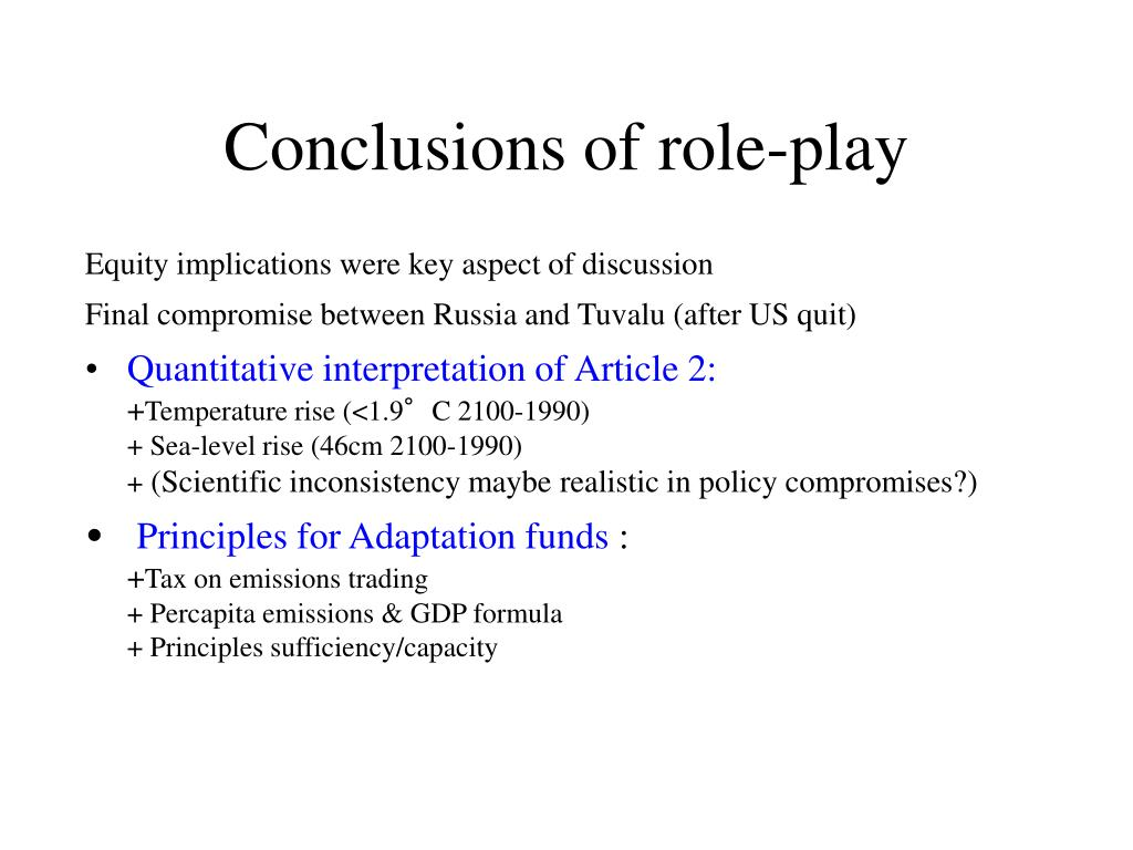 Conclusions of role-play