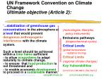 un framework convention on climate change ultimate objective article 2