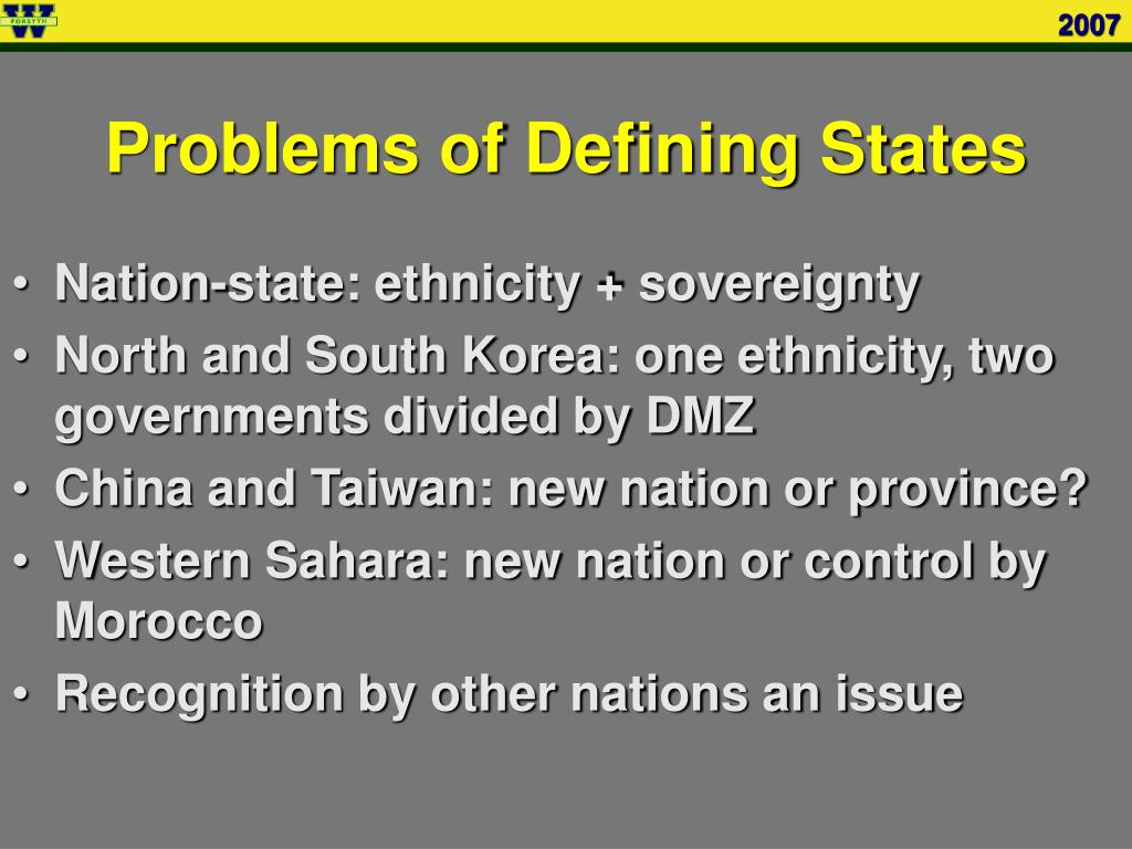 Problems of Defining States