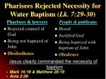 pharisees rejected necessity for water baptism lk 7 29 30