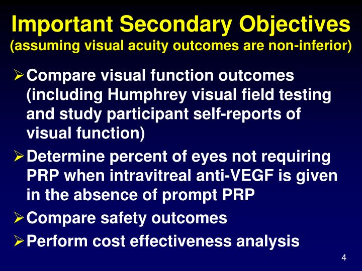 Important Secondary Objectives