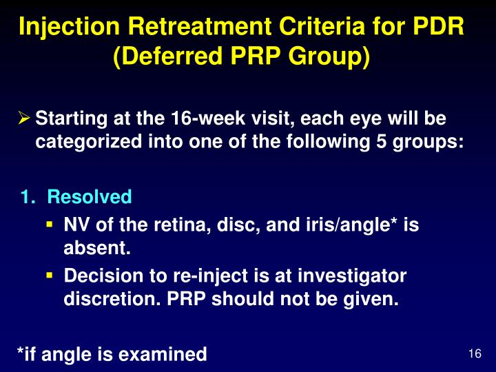 Injection Retreatment Criteria for PDR (Deferred PRP Group)