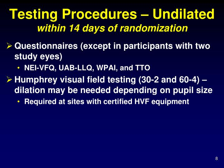 Testing Procedures – Undilated