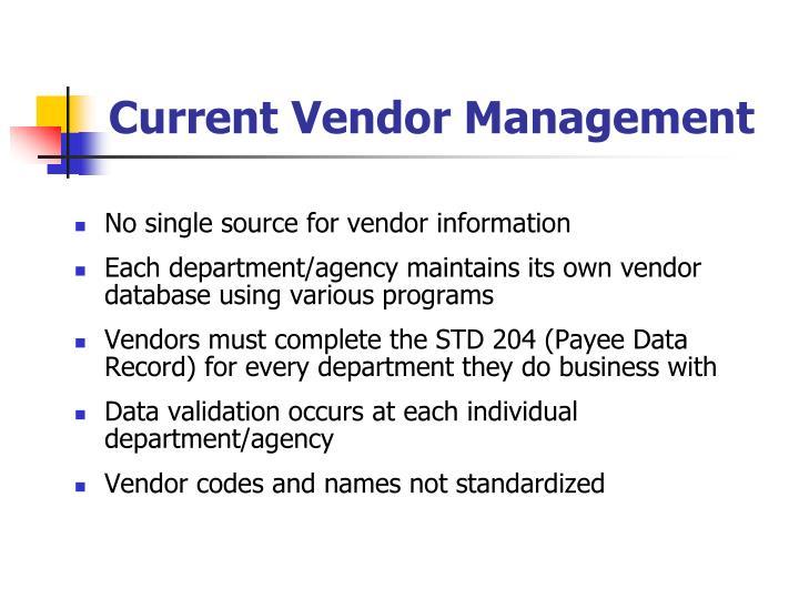 Current Vendor Management