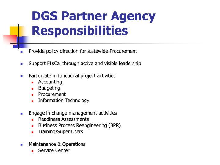 DGS Partner Agency Responsibilities