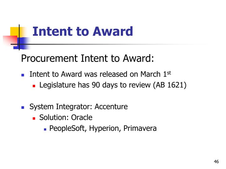 Intent to Award