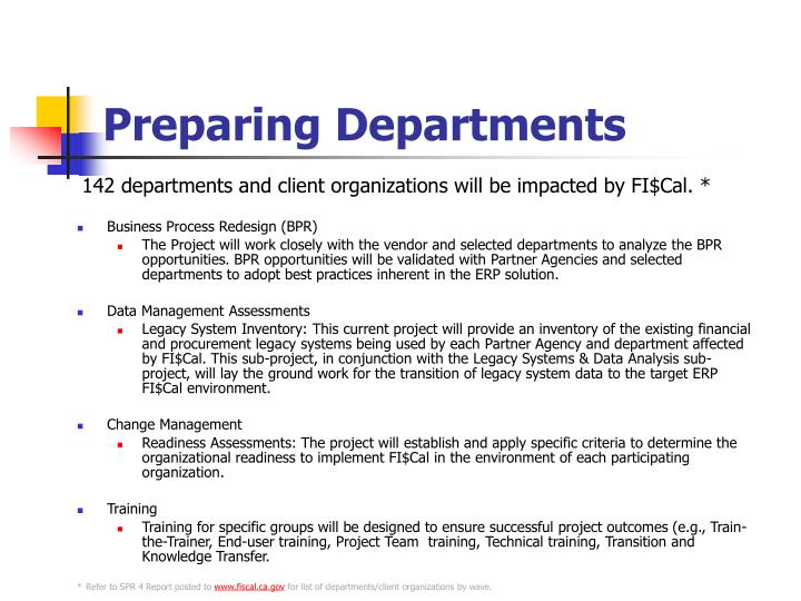 Preparing Departments