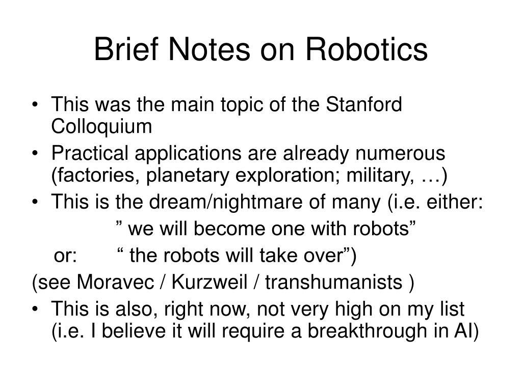 Brief Notes on Robotics