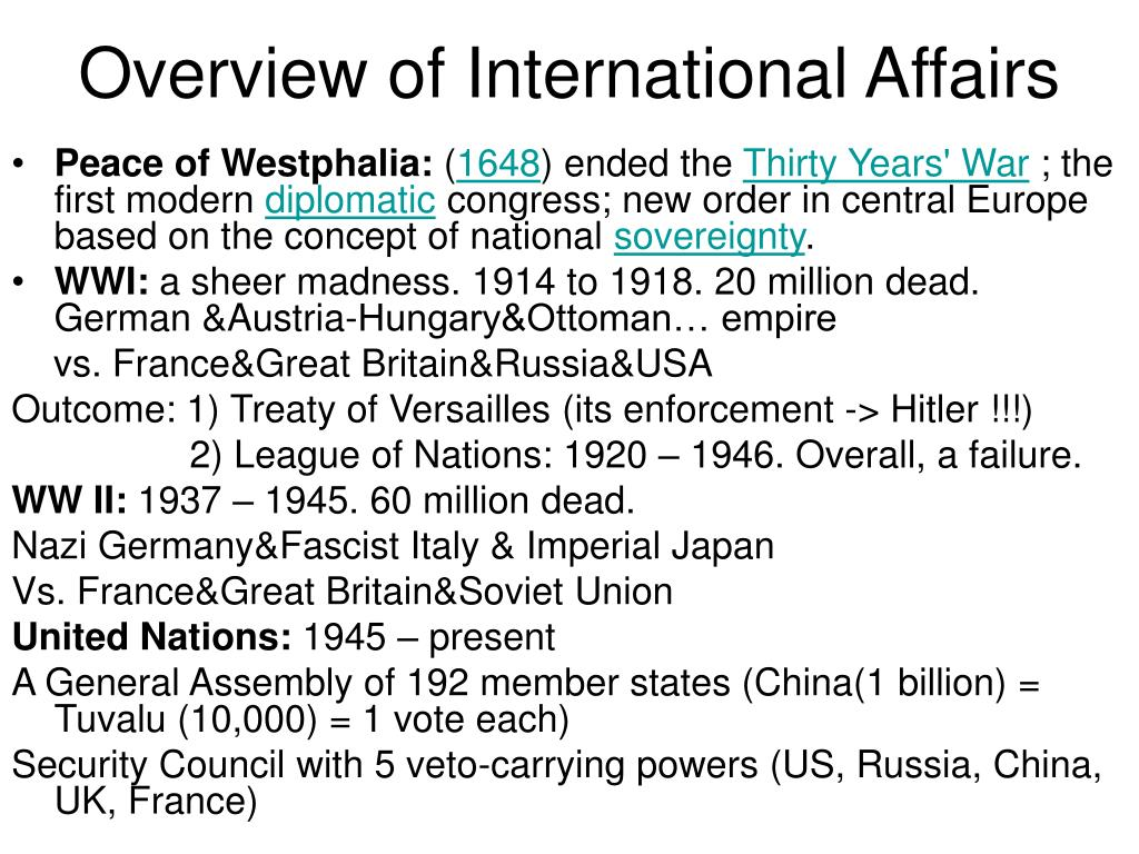 Overview of International Affairs