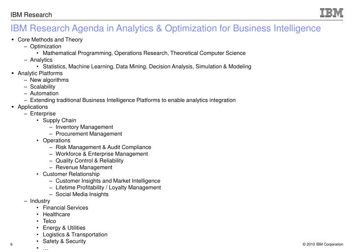 IBM Research Agenda in Analytics & Optimization for Business Intelligence