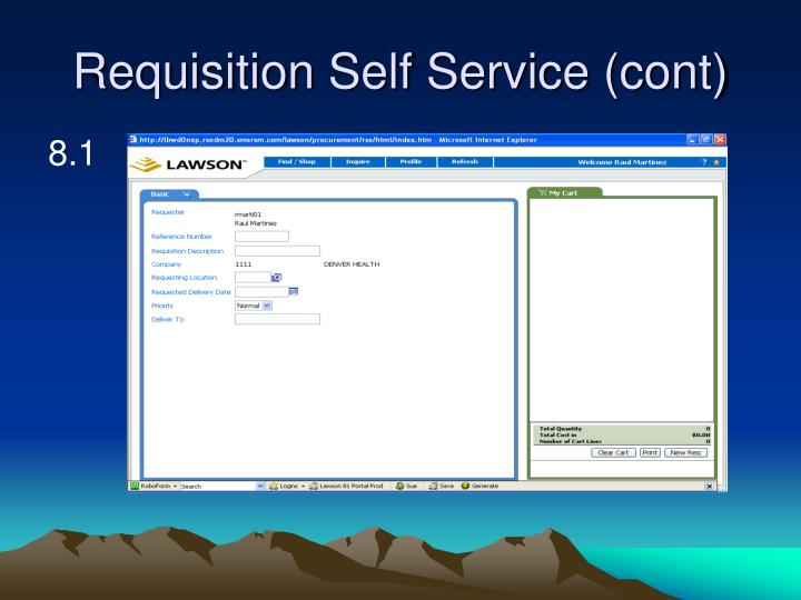 Requisition Self Service (cont)