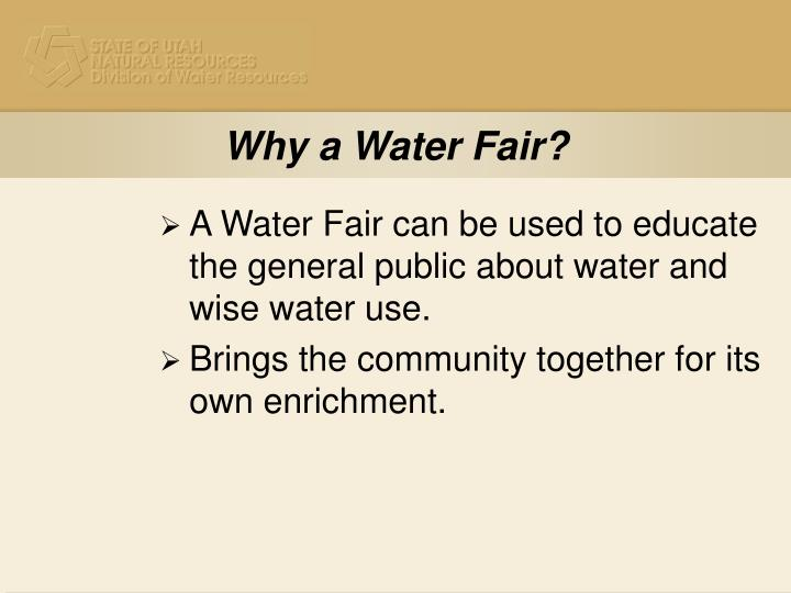 Why a Water Fair?