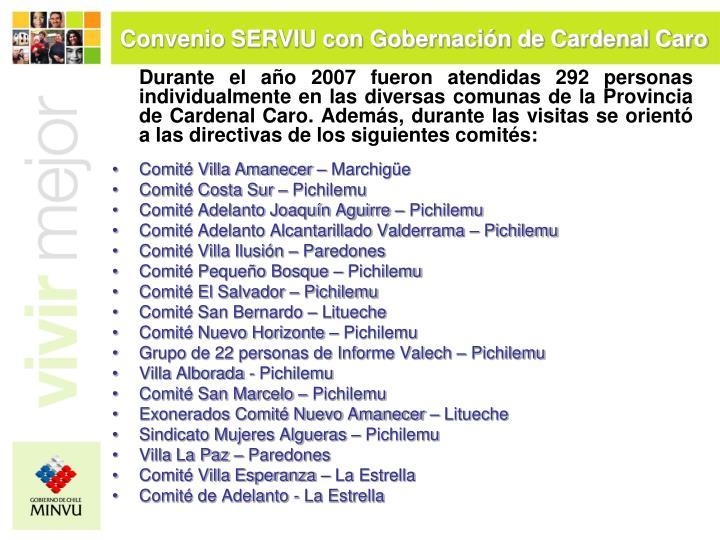 Convenio SERVIU con Gobernación de Cardenal Caro