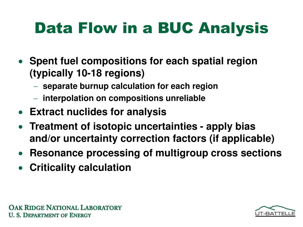 Data Flow in a BUC Analysis