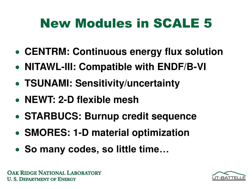 New Modules in SCALE 5