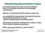 sensitivity uncertainty codes
