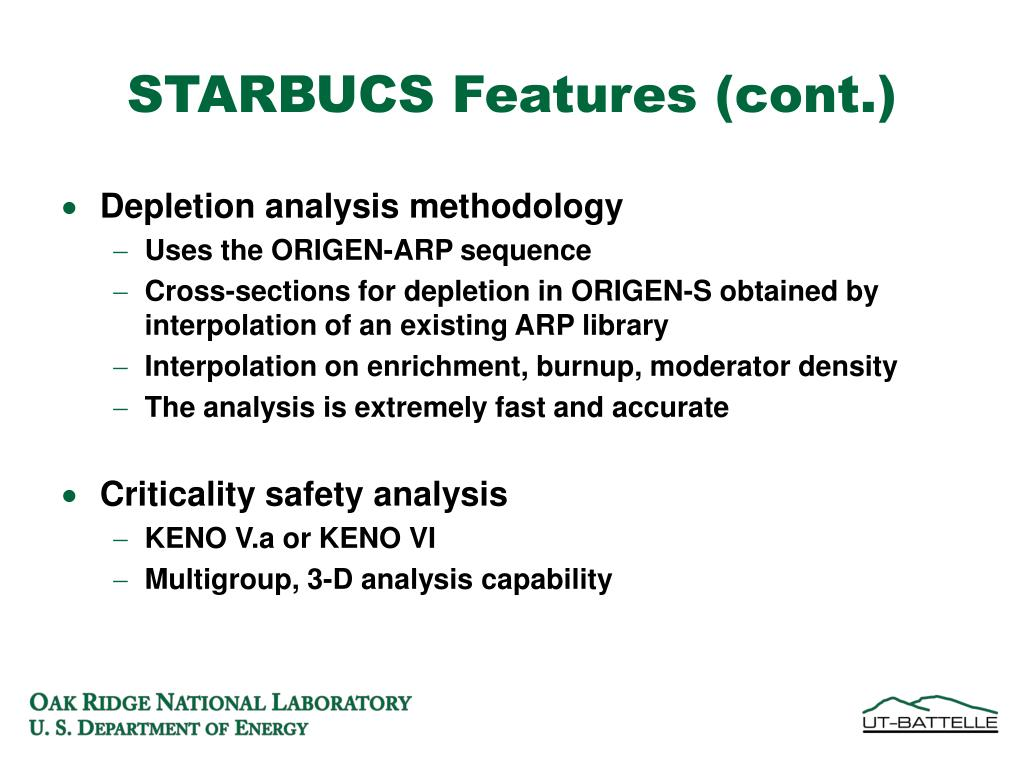 STARBUCS Features (cont.)