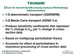 tsunami tools for sensitivity uncertainty analysis methodology implementation