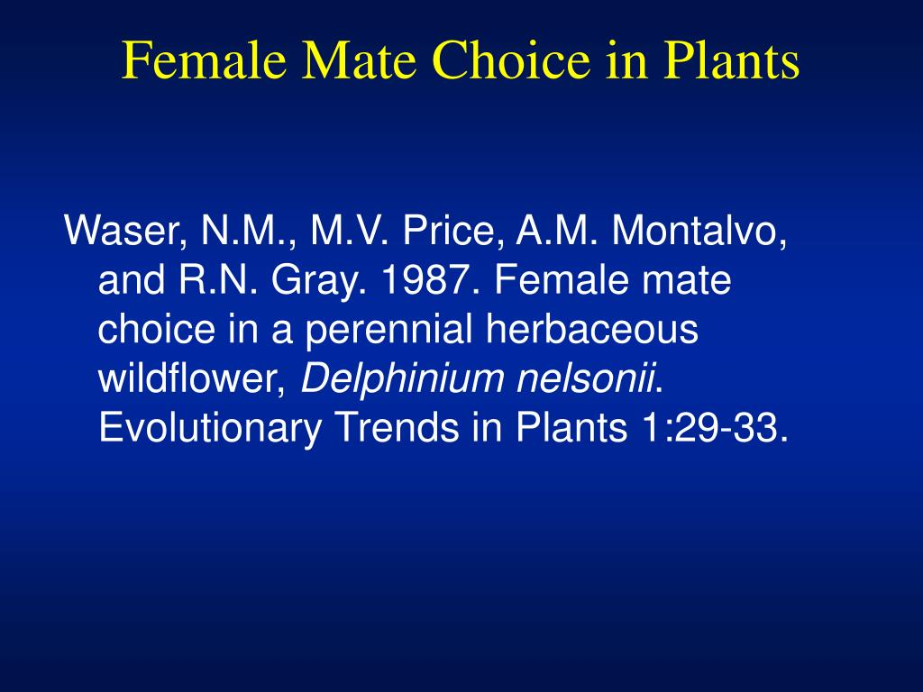 Female Mate Choice in Plants
