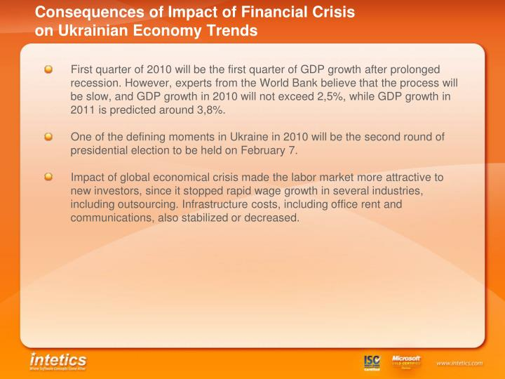 Consequences of Impact of Financial Crisis