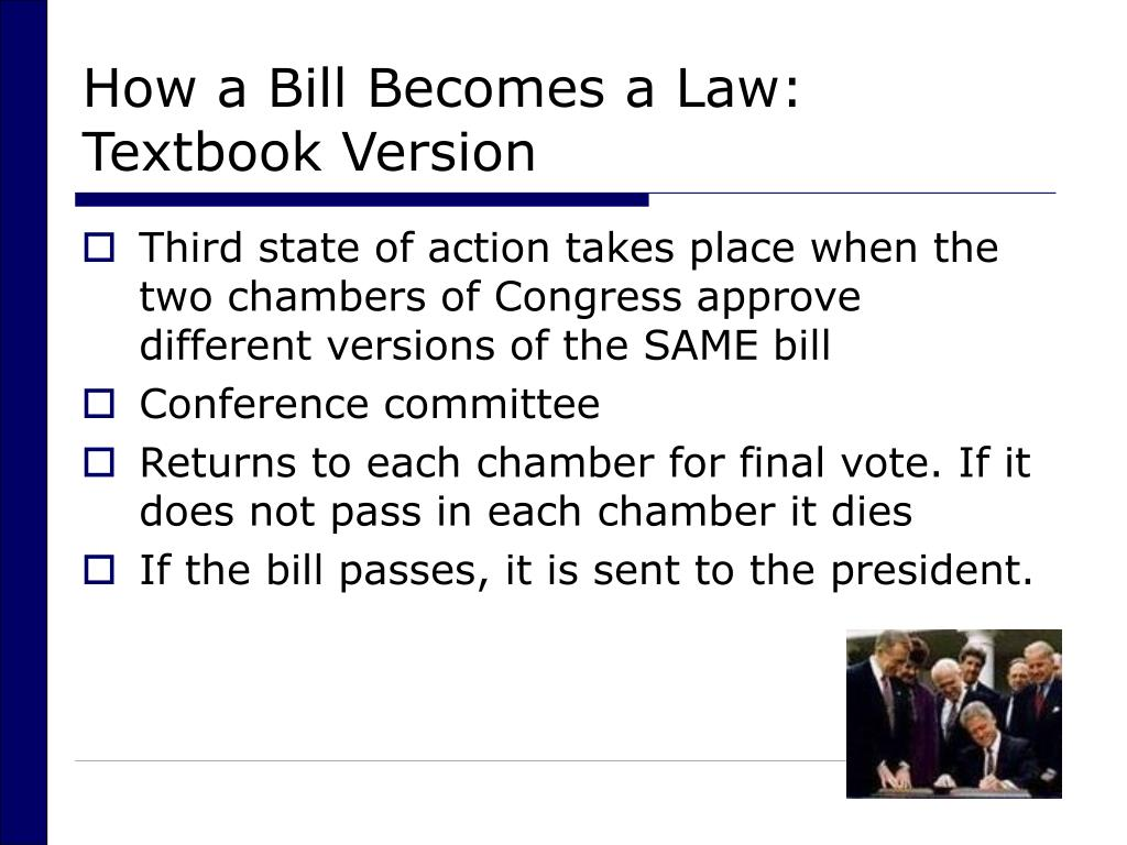 How a Bill Becomes a Law: Textbook Version