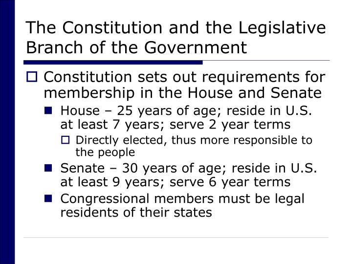 The constitution and the legislative branch of the government3