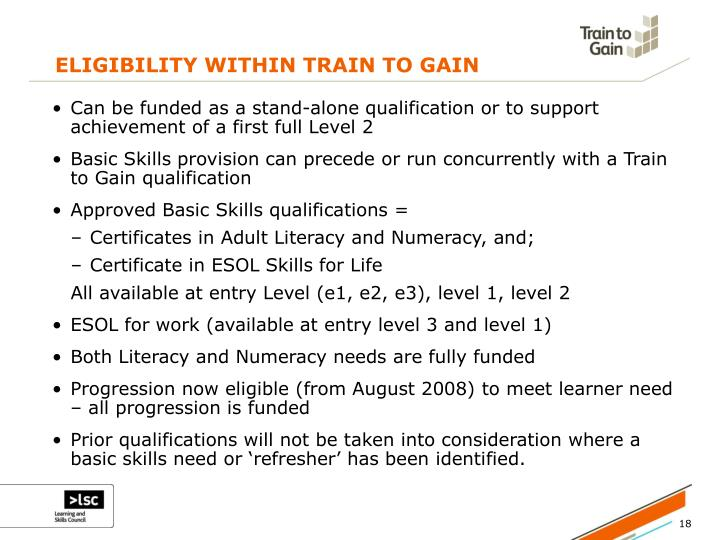 ELIGIBILITY WITHIN TRAIN TO GAIN